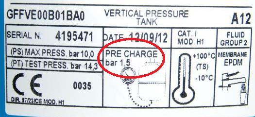 Sprawdzenie ciśnienia w zbiorniku przeponowym według ustawień fabrycznych